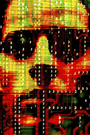 Ominous face on circuit board, illustration