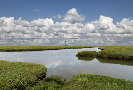 westerheversand: Germany, North Frisia, Westerhever, Eiderstedt, Westerheversand Lighthouse LANG_EVOIMAGES