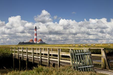 westerhever: Germany, North Frisia, Westerhever, Westerheversand Lighthouse, wooden bridge
