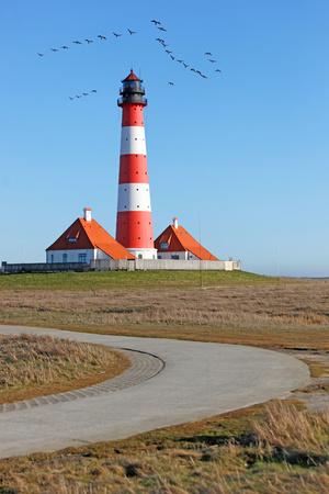 Germany, North Frisia, Westerhever, Eiderstedt, Westerheversand Lighthouse LANG_EVOIMAGES