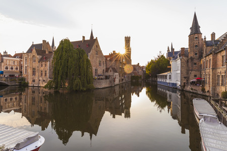 lighted: Belgium, Flanders, Bruges, Old town, Rozenhoedkaai, Canal and Belfry Tower