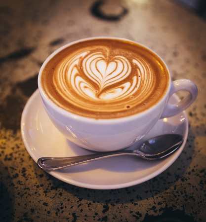 Cappuccino with milk froth, heart