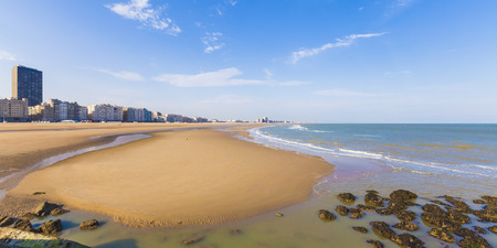 panoramas: Belgium, Flanders, Ostende, North sea seaside resort, Panorama of beach LANG_EVOIMAGES