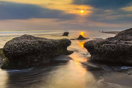 lighted: Indonesia, Bali, coast at sunset