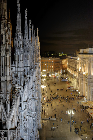 lighted: Italy, Milan, Cathedral Square at night