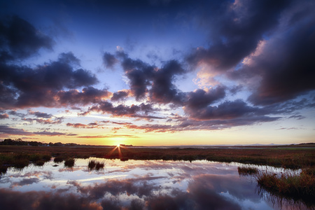 lighted: Scotland, East Lothian, Sunset across Aberlady Bay