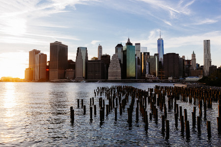 USA, New York, New York City, Manhattan, Skyline and East River at sunset