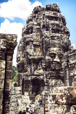 Cambodia, Siem Reap, Angkor Thom Temple, face tower