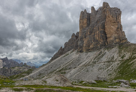 Italy, Alto Adige, Dolomites, view to south face of Tre Cime di Lavaredo