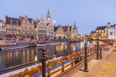 Belgium, Ghent, old town, Graslei, historical houses at River Leie at dusk