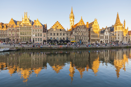 Belgium, Ghent, old town, Graslei, historical houses at River Leie