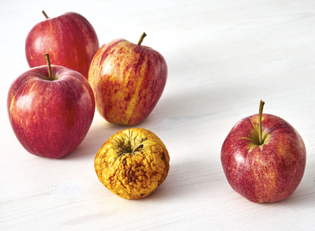 Four fresh red apples and a shrivelled one on white wood