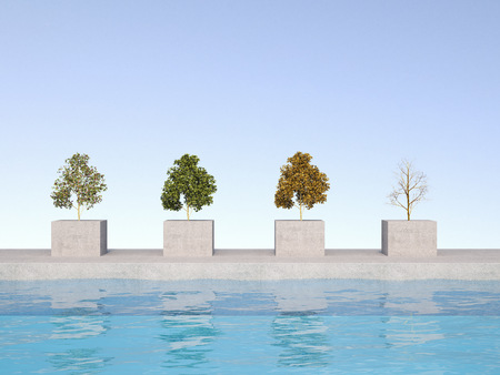 3D Rendering, four season on bases, swimming pool