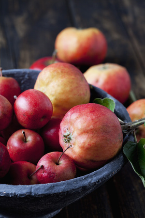 sorts: Bowl of different sorts of red apples, close-up