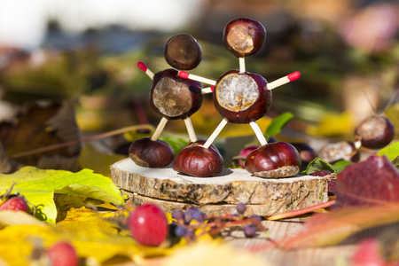 pit fall: Chestnut figurines in autumn