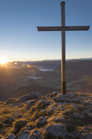 lighted: Austria, Tyrol, Kufstein, View from Pendling at sunrise