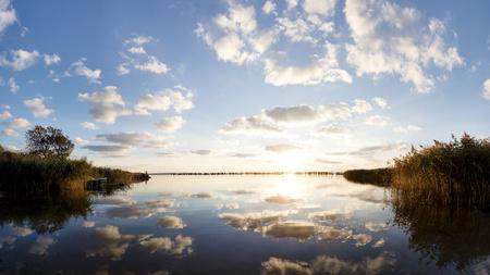 mecklenburg western pomerania: Germany, Mecklenburg-Western Pomerania, Ruegen Island, Glowe, Spyckerscher See at sunset