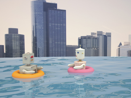 Male and female robot with floating tires swimming in pool in front of city skyline, 3D rendering LANG_EVOIMAGES