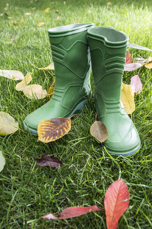 Autumn leaves and rubber boots
