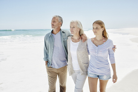 three generations: Best ager with adult daughter at the beach LANG_EVOIMAGES