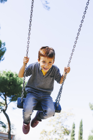 ardor: Happy boy on a swing at the playground