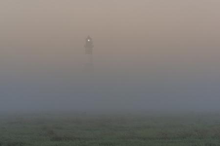 westerheversand: Germany, Schleswig-Holstein, View of Westerheversand Lighthouse in fog