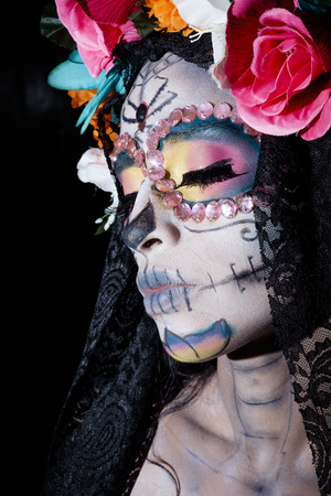 perishable: Woman dressed as La Calavera Catrina, Traditional Mexican female skeleton figure symbolizing death