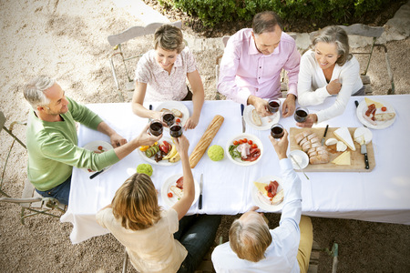 well laid: Spain, Mallorca, six friends sitting at laid table in the garden toasting with red wine