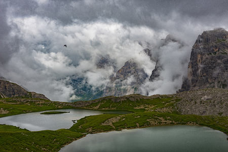 Italy, Alto Adige, Dolomites, view to Piani lakes and Paternkofel mountains on a cloudy day