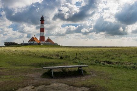 westerheversand: Germany, Schleswig-Holstein, North Sea Coast, View of Westerheversand Lighthouse LANG_EVOIMAGES
