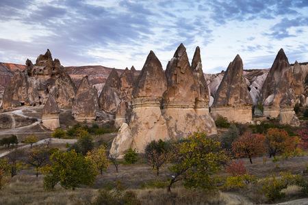 Turkey, Cappadocia, rock formations in the evening