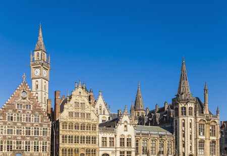 old town guildhall: Belgium, Ghent, old town, Graslei, historical houses