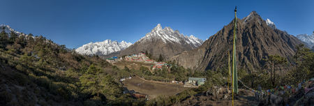 panoramas: Nepal, Himalaya, Khumbu, Tengboche in the mountains LANG_EVOIMAGES
