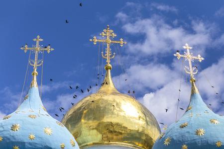 Russia, Sergiyev Posad, Trinity Lavra of St. Sergius, onion domes
