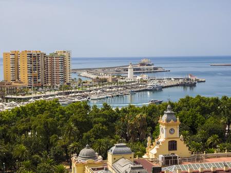 Spain, Malaga, town hall el Ayountamiento, harbor and ocean as seen from Alcazaba