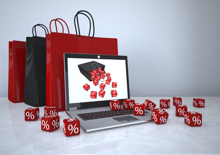 3d illustration, Online shopping, notebook with shopping bags and red cubes