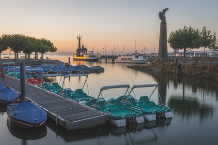 sunrises: Germany, Constance, Harbour entrance with Imperia statue