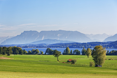 Germany, Upper Bavaria, Lake Waginger See with Untersberg