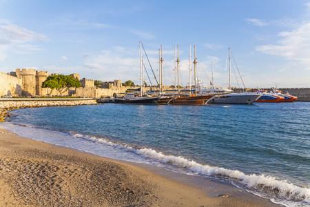 Greece, Rhodes, harbor, city wall and sailing ships