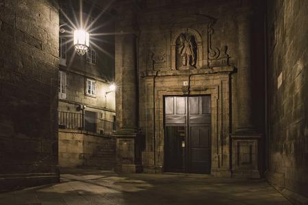 lighted: Spain, Santiago de Compostela, facade of San Paio de Antares Monastery by night
