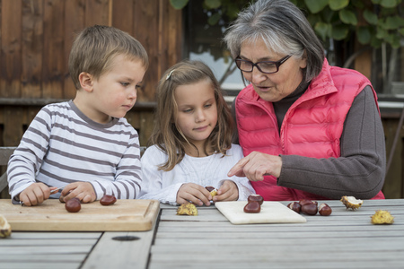 three generations: Two children and their grandmother tinkering with chestnuts LANG_EVOIMAGES