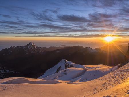 Bolivia, La Paz district, Altiplano, Sunrise on the top of Huayna Potosi mountain peak