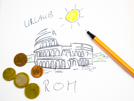 Colosseum in Rome, drawn, symbolical picture with coins