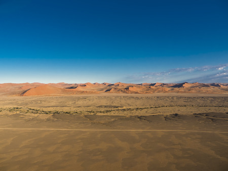 vlei: Africa, Namibia, Kulala Wilderness Reserve, Tsaris Mountains, Sossusvlei, Region Hardap, Namib desert at sunrise