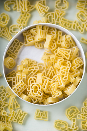 Can of alphabet pasta LANG_EVOIMAGES