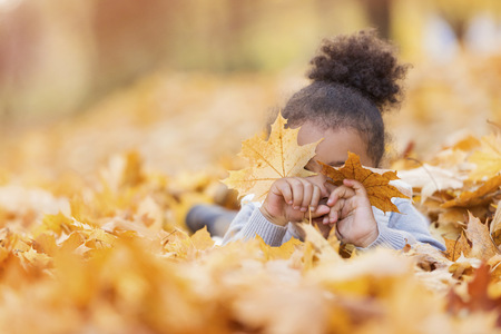 obscuring: Little girl playing in autumn park