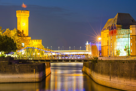 lighted: Germany, Cologne, Rheinauhafen, Malakoff Tower and Imhoff chocolate museum at blue hour LANG_EVOIMAGES
