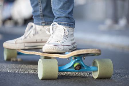 Close-up of a skateboarder
