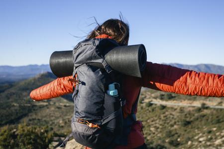 secluded: Spain, Catalunya, Girona, female hiker enjoying the nature