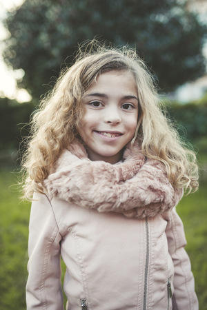scarves: Portrait of smiling blond girl